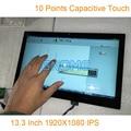 13.3 Polegada 1920*1080 IPS tela de Toque Capacitivo Do Monitor HDMI Tela de LCD Conjunto Kit para Raspberry Pi 3 Exposição Do Carro Auto Android janelas