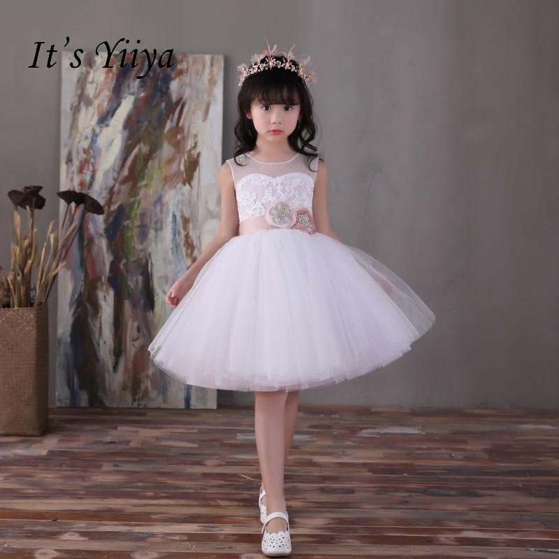 It's yiiya Lace Illusion Zipper   Flower     Girl     Dresses     Flowers     Girls   Kid Child Ball Gown   Dress   For Party Wedding   Girl     Dress   S158