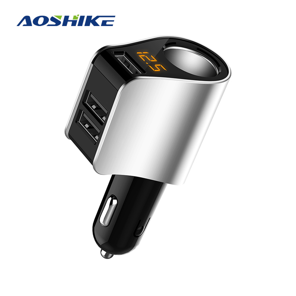AOSHIKE Car Charger 3.1A Car Three USB Charger Mobile Phone Car Charger Adapter With Light Cigarette Lighter Socket 5VAOSHIKE Car Charger 3.1A Car Three USB Charger Mobile Phone Car Charger Adapter With Light Cigarette Lighter Socket 5V