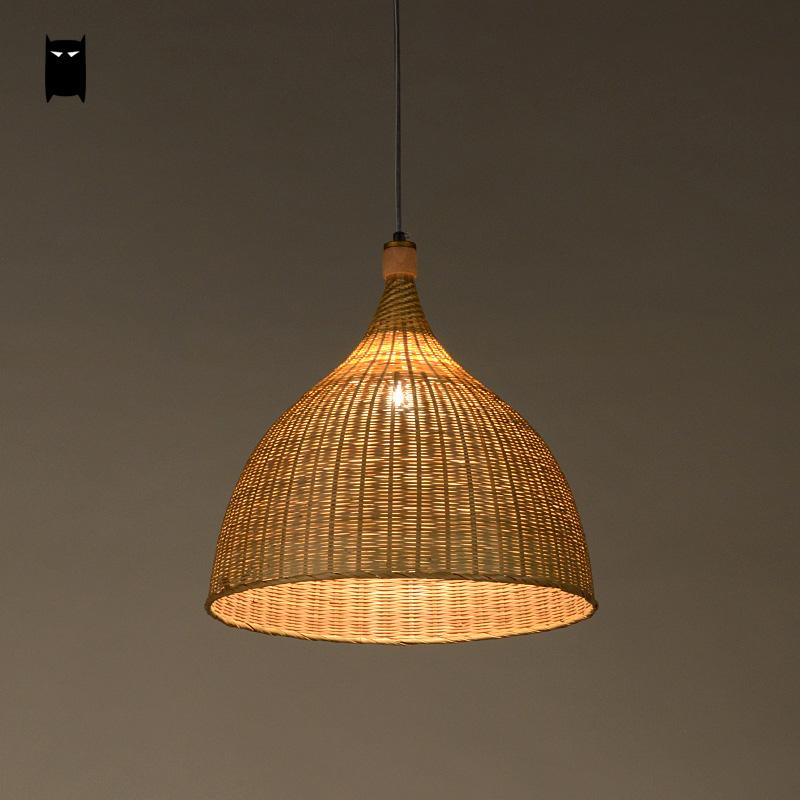 Handmade Bamboo Rattan Round Basket Shade Pendant Light Fixture Rustic  Asian Country Japanese Lamp Design Home Dining Table Room-in Pendant Lights  from ...