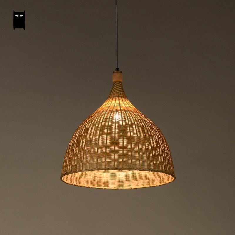 Handmade Bamboo Rattan Round Basket Shade Pendant Light ...