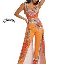 d169b696143 2019 Ethnic African Print Jumpsuit Sexy Romper Women V-neck Sleeveless  Indie Folk Overalls Elegant