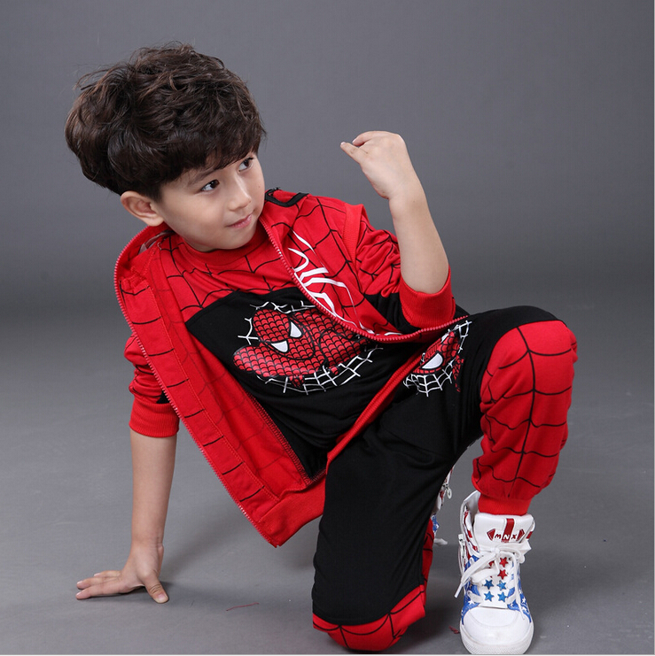 Spiderman Children Boys Clothing set Baby Boy Spider man Sports Suits Kids 3pcs Sets(Vest+T shirt+pants)Sportswear Tracksuits 2016 summer kids clothes baby boys clothing children suits spider man kids boy set t shirt jeans cartoon clothes sports suit