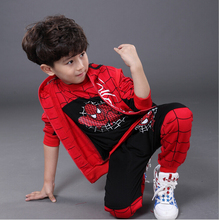 Spiderman Children Boys Clothing set Baby Boy Spider man Sports Suits Kids 3pcs Sets(Vest+T shirt+pants)Sportswear Tracksuits