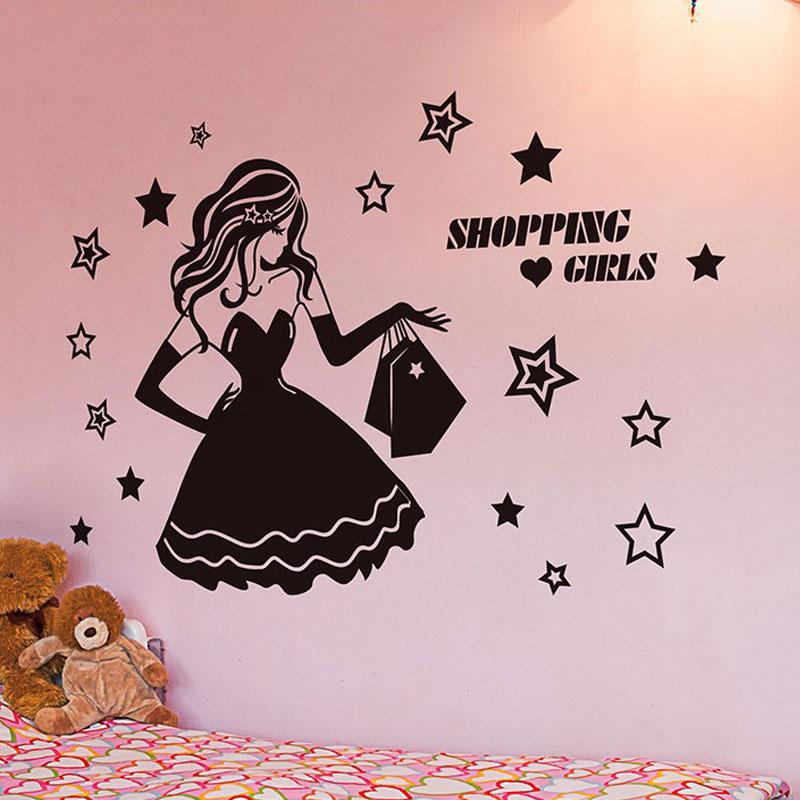 Moda shopping Ropa femenina de bebé tienda pared estrella vinilo Decoración  para el hogar para el dormitorio extraíble decorativo vidrio ventana mural  fs07 ... 3c7df4cbfc7e