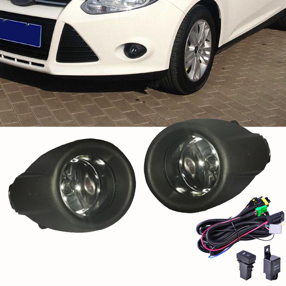 For Ford Focus 2012 2013 2014 Fog Lights Driving Lamps Black Grille Cover Wiring Harness
