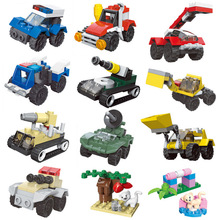 [Promotion] City Series Police Ambulance Fighter Mini Educational Building Blocks Childrens Toys Compatible goingly 181