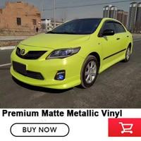 Superior quality matte Metallic Vinyl Wrap Film with Bubble Free Movable glue premium wraps 1.52*20m fluorescence yellow