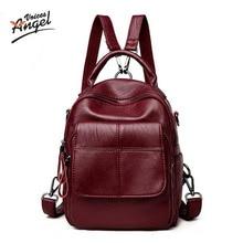 Ангел голоса известный бренд рюкзак Для женщин Рюкзаки одноцветное Винтаж Обувь для девочек Школьные сумки для Обувь для девочек черный Пояса из натуральной кожи Для женщин рюкзак