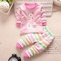 Marca SK nueva ropa de bebé bebés fijados ropa de manga larga t-shirt + pants 2 unids traje de algodón ropa de bebé recién nacido conjunto