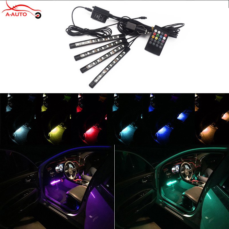 New RGB Colorful Music Control LED Interior Car Mood Light Strip Light Atmosphere Pathway Lighting Lamp Kit