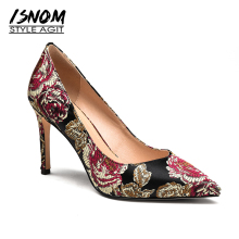 ISNOM 2018 Silk Embroider High Heel Shoes Woman Elegant Pumps Pointed toe Footwear Female Dress Shoes Party Luxury Women Shoes