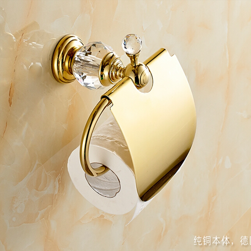 Golden Wall Mount Crystal Hook Bathroom Toilet Paper Holder Tissue Bar W/ Cover free shipping wall mounted space aluminum black golden paper towel shelf phone toilet paper holder