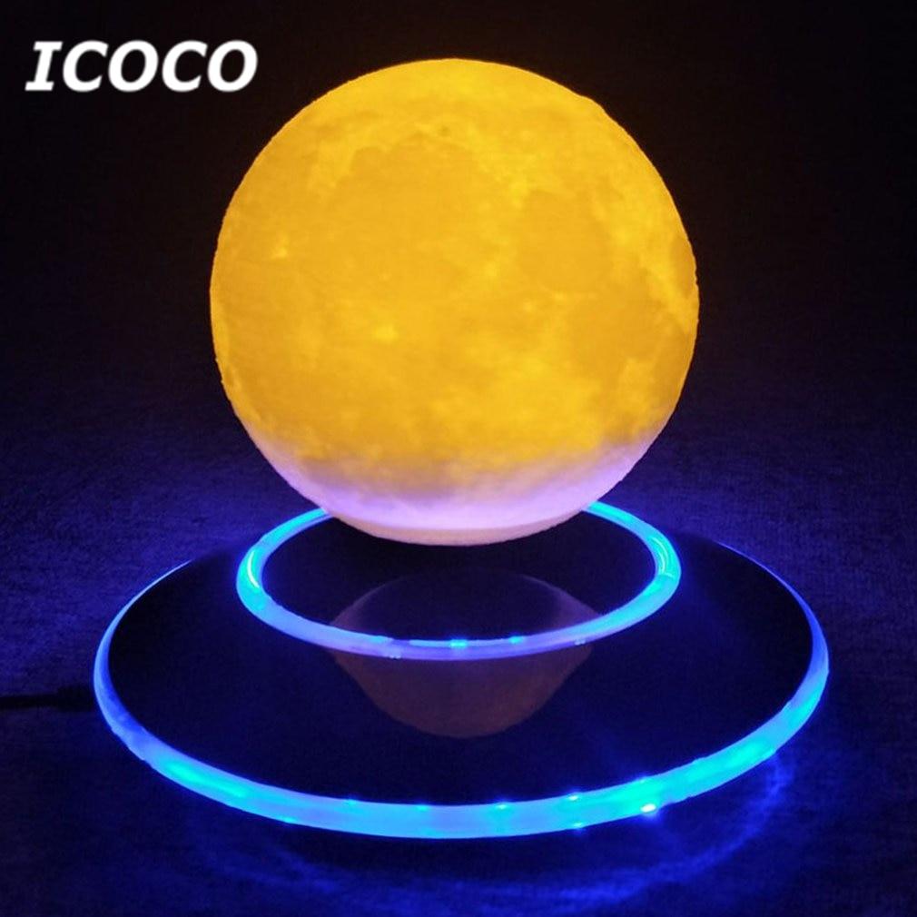 Icoco 12 cm 3D levitación lámpara Luna flotante magnética Luz De noche romántica cumpleaños regalo para Decoración para el hogar nave de la gota
