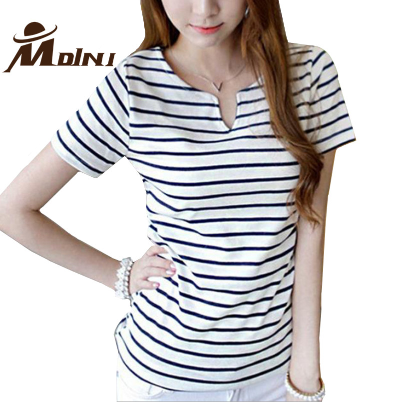 Women 100 cotton striped top tee t shirt female casual t for Best striped t shirt