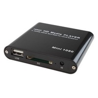 MINI HDMI MEDIA PLAYER 1080P HDD RM RMVB DIVX AVI MKV USB SD MPEG JPEG MOV SD SUPPORT HDMI, CVBS, AND YPBPR VIDEO OUTPUT.