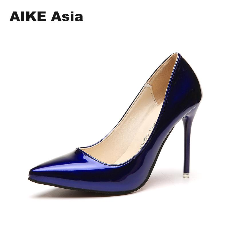 2018 Hot Women Shoes Pointed Toe Pumps Patent Leather Dress High Heels Boat Wedding Zapatos Mujer Blue Wine Red   Lady Blue