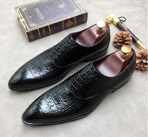 Schwarzes Spitze blau Neue Schuhe Muster Wies Mode Krokodil Kleid Nachtclub Business Britischen Produkte Bankett Einzigen 6Yg6O