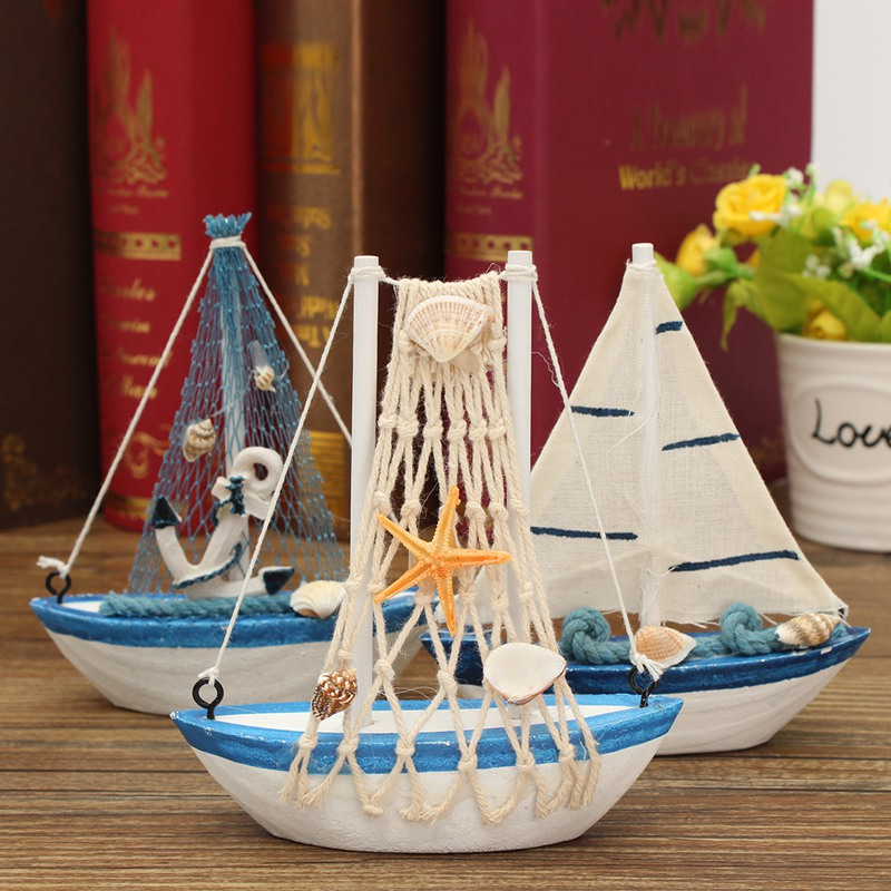 KiWarm 1PC Cute Mini Sailing Boat Model Nautical Home Decor Cloth Sailboat Model Flag Table Ornament Wood Crafts Toy Kids Gift