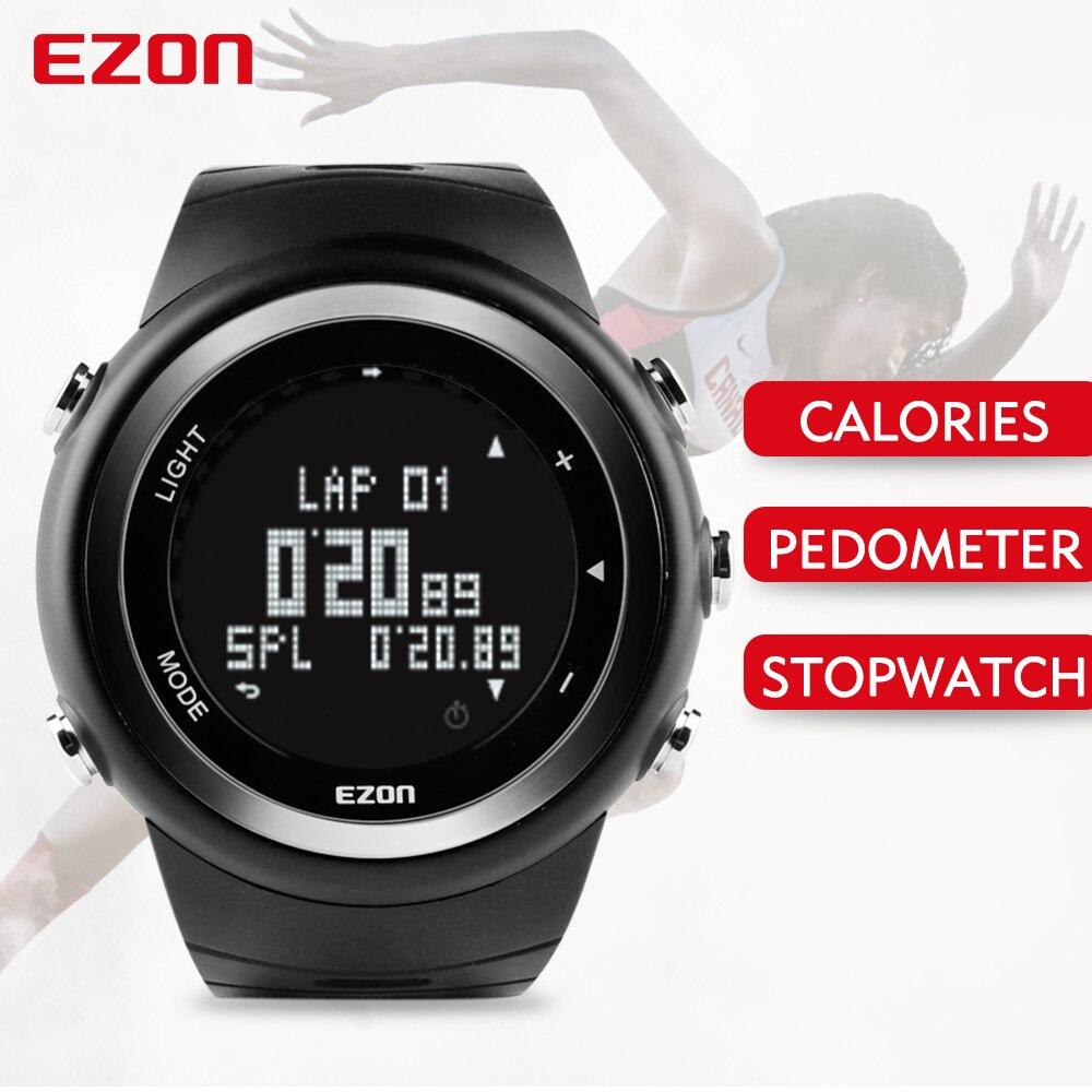 EZON podomètre Calories moniteur hommes montres de sport étanche 50 m Montre numérique course natation plongée Montre-bracelet Montre Homme