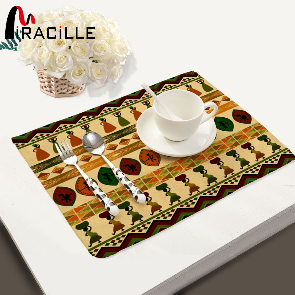 Miracille Bohemian Style Table Mat Dinning Bowl Plate Placemat Heat insulated Tableware Ethnic Tablecloth for Home