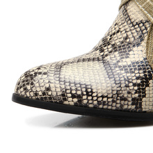 Western Cowboy Boots Snake Print Mid Calf Shoes