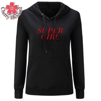 Cherry Blossom SUPER GIRL Letter Printed Long Sleeve Hooded Hoodies Plus Size Women Thicken Cotton Fleece