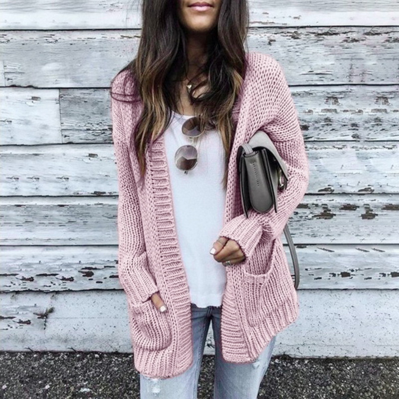 Laamei Autumn New Fashion Women Long Sleeve Loose Knitting Cardigan Women Sweater Knitted Pull Femme Sueter Mujer Invierno 2019