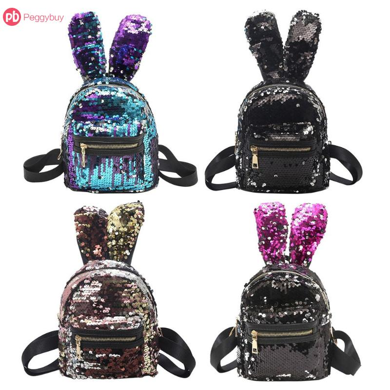 Women Sequins Backpack Cute Mini Rabbit Ears Double Shoulder Bag Women Mini Backpacks Children Girls Travel Bag mochila New 2018 2017 new women girl children all match bag pu leather sequins backpack girls small travel princess bling backpacks