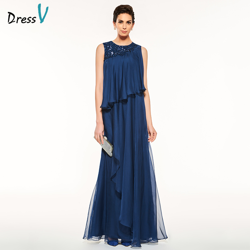 Dressv Blue Long Mother Of The Bride Dress Sleeveless A Line Beading Lace Custom Simple Elegant Mother Of The Bride Dress
