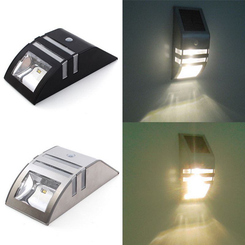 Stainless Steel Outdoor Solar Sensor LED Light PIR Motion Sensor Solar Lamp Detection Range With Dusk - Dawn Dark Security Light