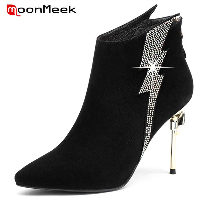 MoonMeek 2018 new arrive autumn winter women super high heel boots ladies suede leather boots popular pointed toe ankle bootsMoonMeek 2018 new arrive autumn winter women super high heel boots ladies suede leather boots popular pointed toe ankle boots