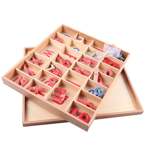 Giocattolo del bambino di Legno Montessori Piccolo Mobile Alfabeto Rosso e Blu con la Scatola In Età Prescolare Precoce Bambino Brinquedos Juguetes - 2