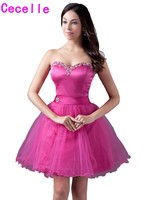 2017 Simple Fuchsia Short Homecoming Dresses Juniors Sweetheart Beaded Crystals Tulle Knee Length Homecoming Cocktail Gowns