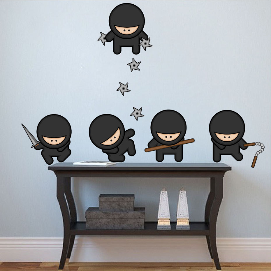 Colorful ninja silhouette color wall stickers for kids - Childrens bedroom wall stickers removable ...