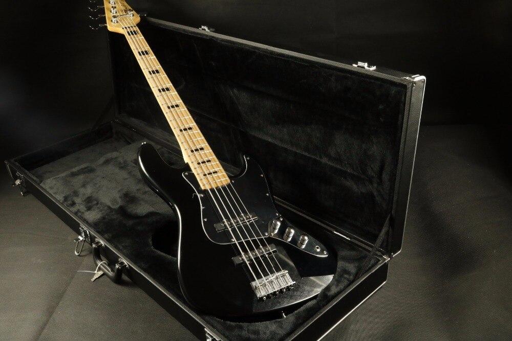 Brillant noir 5 cordes Basse guitare Guitarra personnalisé oem basse guitare usine noir bloquer inlay sur manche basse guitare