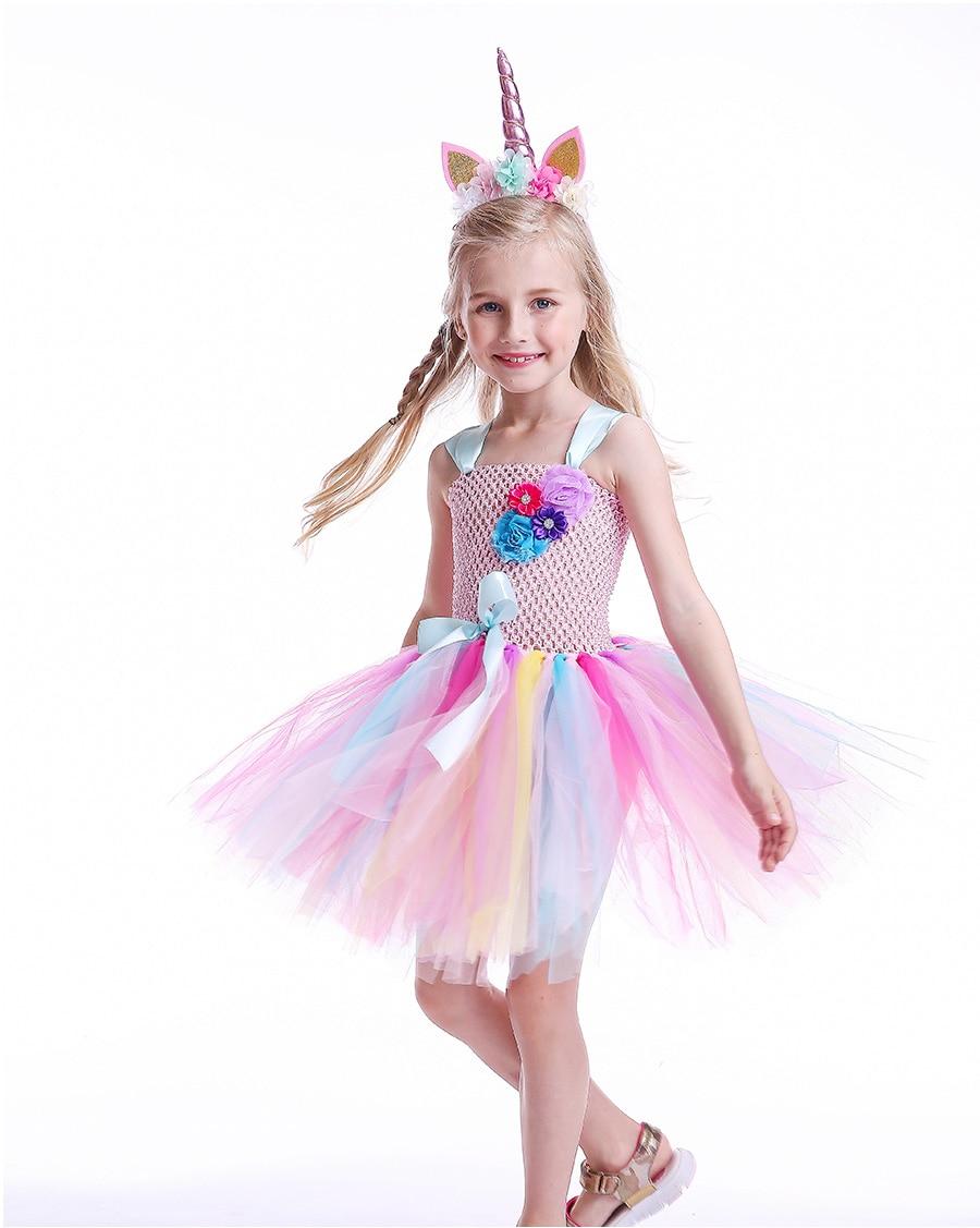 Kids Girls Unicorn Tutu Dress with Headband Knee-Length Pastel Rainbow Flower Girl Dress Kids Halloween Pageant Party Costume (10)