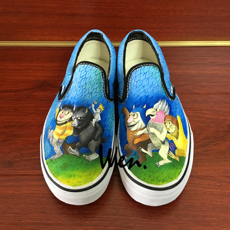 Wen Design Custom Where The Wild Things Are Slip On Hand Painted Canvas Sneakers Unisex Skateboarding Shoes for Birthday Gifts wen design hand painted shoes custom anime samurai champloo slip on canvas sneakers for men women s special gifts page 4
