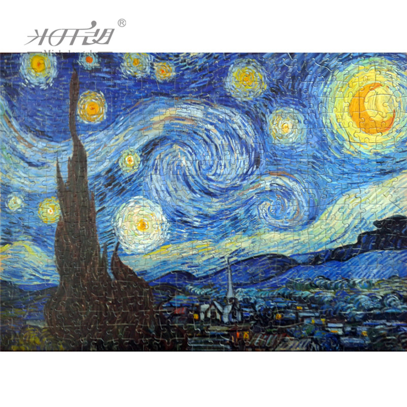 Michelangelo Wooden Toys Puzzles 500 1000 1500 2000 Pieces Old Master The Starry Night By Vincent Van Gogh Wall Painting Gift