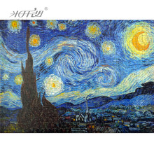 Michelangelo Wooden Jigsaw Puzzles Old Master The Starry Night by Vincent van Gogh Educational Toy Decorative Wall Painting Gift michelangelo wooden jigsaw puzzles 500 1000 1500 2000 pieces old master lotus flower mandarin duck shen quan art educational toy