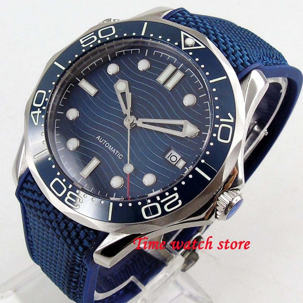 Luxury 41mm no logo men's watch navy dial super luminous saphire glass ceramic Bezel Automatic movement wrist watch men 214