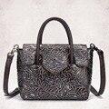 High Quality Real Genuine Leather Women Shoulder Bag Casual Vintage Female Cowhide Messenger Bags Ladies Embossed Tote Handbag