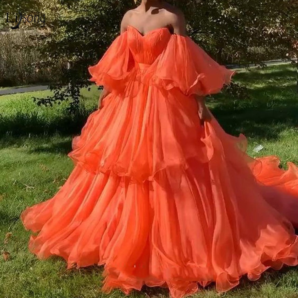 Chic Fire Orange Tiered Tutu Prom Dresses 2019 Prom Gowns With Puff Full Sleeves Off The