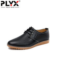 PHLIY XUAN New 2019 Summer Shoes Men Genuine Leather Holes Breathable Sandals Flat Plus Size Sandalias Hombre 38-47