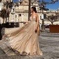 Темпераментные Длинные вечерние платья из тюля, сексуальное платье с глубоким v-образным вырезом на бретельках, длинное вечернее платье, эл...