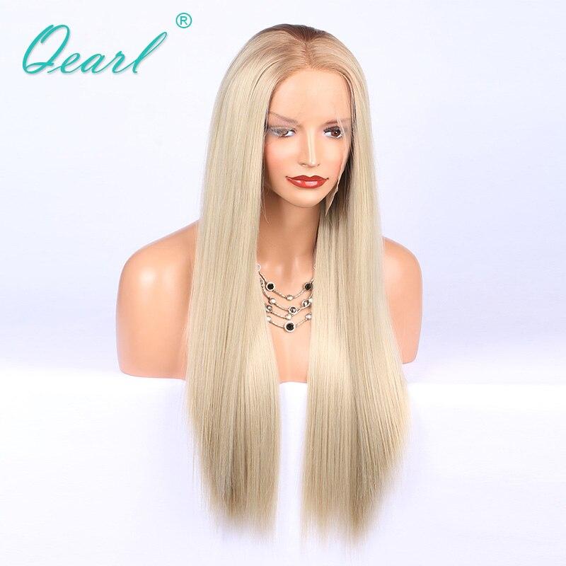 Petit Cap de cheveux humains pleine perruque de lacet 4 #/60 # deux tons naturel dégarni Brésilien Remy réel cheveux dentelle perruques 150% densité Qearl