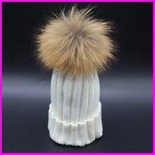 2014 Fashion Children Winter Raccoon Fur Hats 100% Real 15cm Fur pompom Beanies Cap Natural Fur Hat For Kids Children