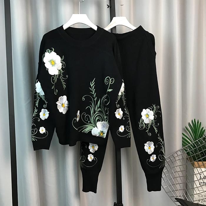 over Ensembles Costume Mode Tricoté Pièce Broderie gris Européenne Noir Pull Fleur Nouvelle De Tricots Manteau Haute Pantalon Femmes Qualty Dames Harlem 2 OqnAfFS