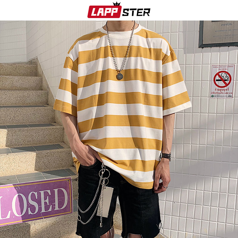 LAPPSTER Men Streetwear Striped Tshirt 2020 Summer Mens Funny Hip Hop Loose T Shirt Male Vintage Fashion Tees Casual Yellow Tops