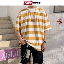 Camiseta a rayas para hombres de LAPPSTER, Camiseta holgada divertida de Hip Hop de verano 2020 para hombres, camisetas de moda Vintage para hombres, camisetas casuales amarillas
